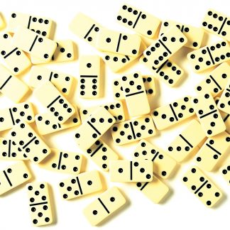 Dominoes scattered on a table