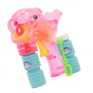 Dolphin shaped bubble gun with two bottles of bubble mixture