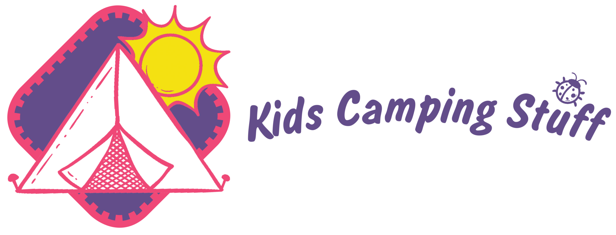 Kids Camping Stuff Banner Logo - Graphic of a badge with a tent and a sun