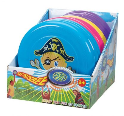 Pirate Frisbee display box containing various coloured frisbees