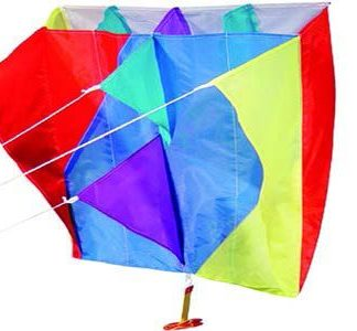 Colourful pocket aerofoil kite with a single line