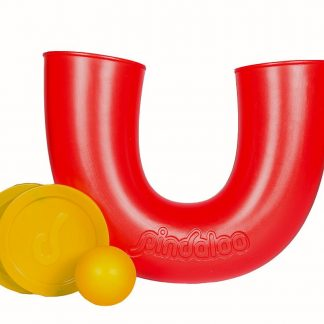 Red Pindaloo juggling toy with yellow balll and yellow lids