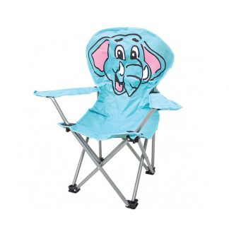 Kids Folding Camping Chair - Light Blue with Elephant Design